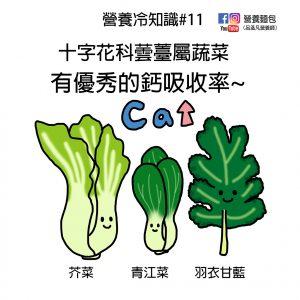 營養冷知識#11:十字花科蕓薹屬蔬菜有優秀的鈣吸收率!純素食者補鈣可以多攝取。